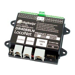 DR4088LN-CS (2 Leiter) 16-kanal Rückmeldemodul LocoNet und zusätzlichen S88N Master.